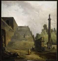 Galerie Eric Coatalem (Stand N13) -Hubert Robert -Personnages sur un escalier -