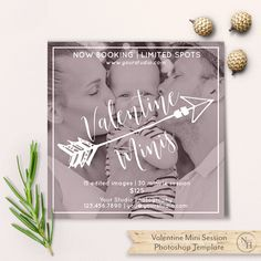 Valentine Mini Sessions, Photoshop Template, Valentine Minis Marketing Board, Photography Marketing, PSD Flat Card, Instant Download