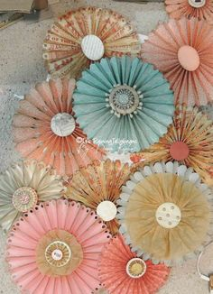Its Raining Jelly Beans: Wedding: Rosette Wall Decor Diy Paper, Paper Crafting, Wedding Wall Decorations, Baby Dedication, Removable Wall Decals, Jelly Beans, Flower Making, Diy Flowers, Rosettes