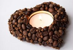 Scented heart-shaped coffee bean & clove candle holder by florasense