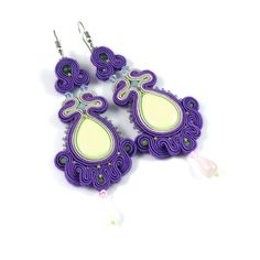Spirng flower - soutache colourfull earrings. zł364.00, via Etsy.