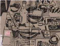 Coffee at Conrad's Diner in Glendale.     A while back, I started a new Moleskine sketchbook and decided it should have a theme. Since dra...