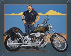 Motorcycle Art Portrait Painting in Oil - Ride Hard Live Free - Harley Davidson - Portraits Artist Rick Timmons