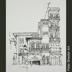 Painted on location on the Cais Ribeira. Restaurante Farol Da boa Nova. www.ebay.ca/usr/sheelerart . #town #urban #buildings #landscape #street #art #artist #original #watercolor #watercolour #painting #paintingaday #penandink #waterbrush #pleinaire #urbansketch #urbansketchers #urbansketcher #architecture #ink #Porto #portugal #quicksketch