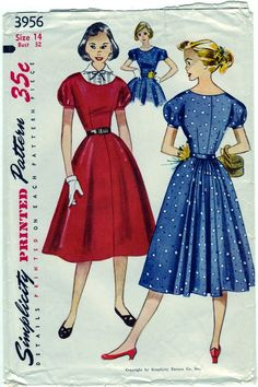 Vintage 1952 Simplicity 3956 Sewing Pattern by SewUniqueClassique, $16.00