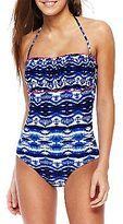 teen one-piece swimwear-arizona tiedyed bandeau halter onepiece swimsuit cute modes #modestishottest !! :)