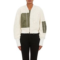 3.1 Phillip Lim Women's Floral Lace Jacquard Crop Flight Jacket ($629) ❤ liked on Polyvore featuring outerwear, jackets, white, zipper jacket, white cropped jacket, zip front jacket, cropped jacket and lace bomber jacket