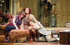 """Hay Fever"" at the Stratford Festival In her theatrical way, Lucy Peacock as Judith (center), embraces her children, Sorel and Simon (Ruby Joy and Tyrone Savage)."