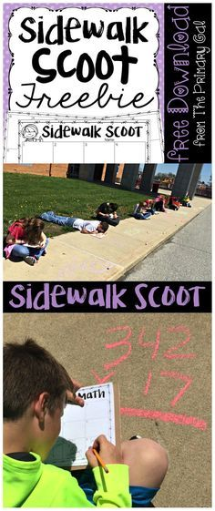 Sidewalk Scoot: A FREE Math Game That Your Students Will LOV.- Sidewalk Scoot: A FREE Math Game That Your Students Will LOVE Looking for an education reason to take you kids outside? Try Sidewalk Scoot! Free Math Games, Fun Math, Kids Math, Math Art, Math Resources, Math Activities, Fifth Grade Math, Fourth Grade, Grade 3