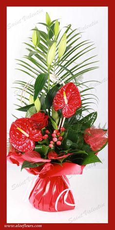 Bouquet Saint Valentin Roses Anthurium Aloefleurs.com Deco Floral, Wedding Reception Venues, Gif Animé, Fruit, Heart, Floral Arrangements, Flower Decoration, Flower Arrangements, Nice Flower