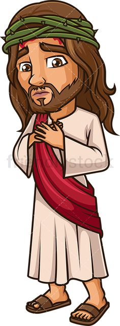 Jesus Christ With Crown Of Thorns: Royalty-free stock vector illustration of Jesus Christ wearing a thorn crown and bleeding. Andrew The Apostle, Parting The Red Sea, Jesus Cartoon, Cain And Abel, Crown Of Thorns, Adam And Eve, Cartoon Drawings, Jesus Christ, Religion