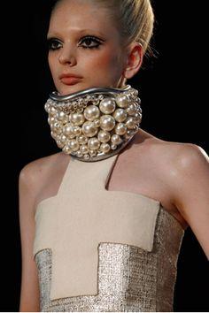 Azza Fahmy Fashion'12 inspiration: Statement multi-sized Pearl Choker- Paris Fashion Week 2012