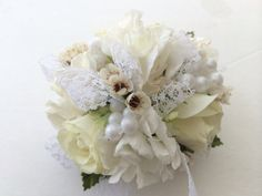 Pearls and Lace Rose wrist Corsage