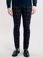 2076579287ae Navy and Red Check Stretch Skinny Fit Chinos Trouser Outfits