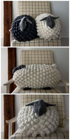 Giant Knit Bobble Sheep Pillow *Free Pattern*This knit. (True Blue Me and You: DIYs for Creatives) DIY Giant Knit Bobble Sheep Pillow *Free Pattern*This knit.DIY Giant Knit Bobble Sheep Pillow *Free Pattern*This knit. Crochet Home, Knit Or Crochet, Crochet Crafts, Yarn Crafts, Bobble Stitch Crochet, Sheep Crafts, Crochet Dolls, Crochet Baby, Free Crochet
