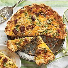 Cheese & Sausage Quiche - Adapted from Carolina Cooking, this is great for breakfast, lunch, or dinner. It also reheats beautifully, so bake an extra and take it to a...