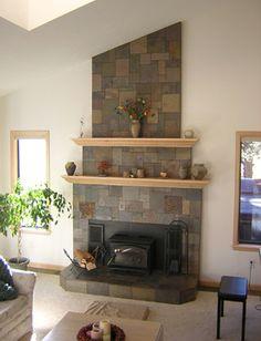 Oak fireplace mantel and surround Slate tile around fireplace