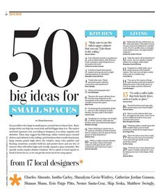 "Small space decorating..put hte title ""50 big ideas for small spaces"" in her search box on this page and it will bring up the article."