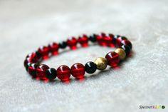 Red Black and Gold Stretch Bracelet  Czech Glass by Spectrakraft, $27.00