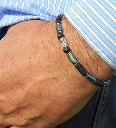 Men beads Gemstone BRACELET Onyx hematite green/blue. Coco