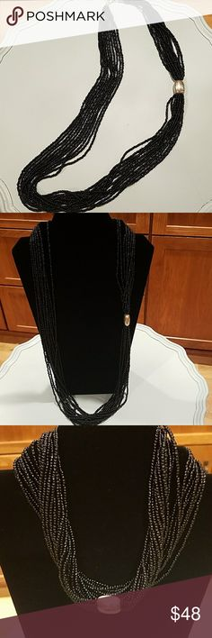 Silpada necklace Long, elegant black seed bead necklace, with sterling silver bead. 34 inches long with a 2 inch extender. Wear long, or doubled up for a different look altogether. Silpada Jewelry Necklaces