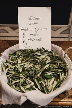 Il Wedding Weekend di Lynda & Mark - Olive leaves as good fortune Olive Green Weddings, Olive Wedding, Greek Wedding, Italy Wedding, Wedding Menu, Wedding Vows, Moss Green Wedding, Olive Branch Wedding, Wedding Ideas