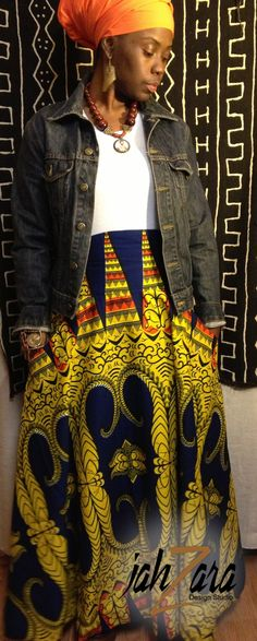 High waisted African Inspired skirt with oversize pockets $70