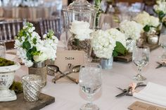 decorating long tables with tin cans and glass jars | Real Weddings} Vintage Chic Wedding Love Story- Part 2 | Highlands ...