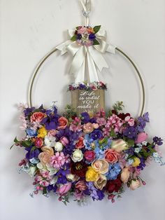 Spring hoop wreath I made for a friend. Hoop, Floral Wreath, Wreaths, Spring, Flowers, How To Make, Gifts, Home Decor, Floral Crown