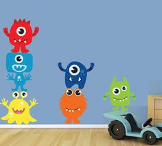 Monsters Wall Decal Reusable Childrens Fabric Wall Decal - SK325Swa
