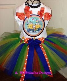 Shop for tutu on Etsy, the place to express your creativity through the buying and selling of handmade and vintage goods. Birthday Tutu, Birthday Ideas, Minions, Joint Birthday Parties, Minion Party, Blue Green, Yellow, Bday Girl, Despicable Me
