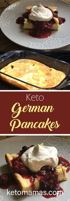 Enjoy our grain free, gluten free and low carb keto German pancakes recipe. So easy for a special occasion breakfast or anytime. Low Carb Breakfast, Breakfast Recipes, Breakfast Dessert, Breakfast Ideas, Breakfast Pancakes, Breakfast Gravy, Breakfast Cereal, German Breakfast, Breakfast Omelette