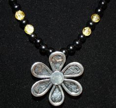 Summertime Black and Yellow Flower Power Beaded by LetitBJewelry, $19.99