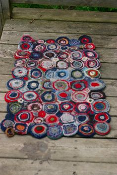 Rug made from old, felted woollens. #recycle, #reuse, #tutorial, #colour,