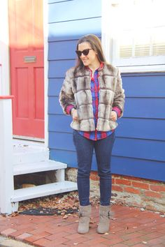 Red, Blue, & Fur for Fall #faux