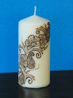 Floral Strip Henna Decorated Candle Henna Candles, Diy Candles, Pillar Candles, Decorative Candles, Candle Art, Candle Molds, Candle Lanterns, Candle Making, Mehndi Designs
