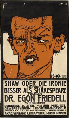 Poster by Egon Schiele (1890-1918), 1910, Shaw or the Irony (Shaw oder die Ironie), Lecture by Egon Friedell. (Austrian)