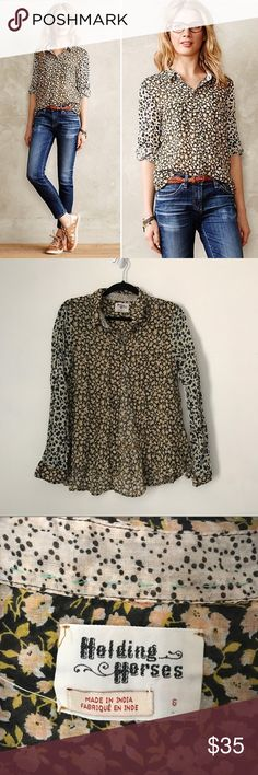 Anthropologie Holding Horses Arabel Buttondown Adorable floral two print button down blouse from Anthropologie brand Holding Horses. Size 6 and 10.Excellent condition. No trades or try ons! Anthropologie Tops Button Down Shirts