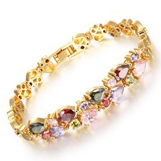 Multicolor Micro Insert Cubic Zirconia Mona Lisa Woman Bracelets Vintage Gold Plated Heart Design Link Chain Jewelry Gift