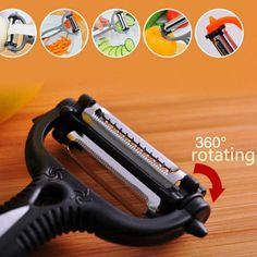 360 Degree Rotary Potato Peeler Vegetable Cutter Fruit Melon Planer Grater Kitchen Gadgets with 3 Blades ** You can find more details by visiting the image link. This is an affiliate link. Potato Peeler, Apple Pear, Kitchen Tools And Gadgets, Kitchen Supplies, Stainless Steel, Rotary, Fruit, Vegetables, Multifunctional