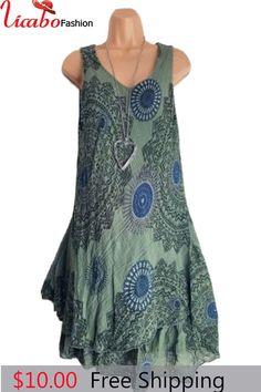 e4892c3ceb Womens Plus Size Midi Dress Summer Loose Shift Sleeveless Tank Vest Sun  Dress