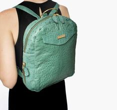 c44dfe9b34d4 Genuine Ostrich Backpack, Small Green Backpack, Real Ostrich Bag, Genuine