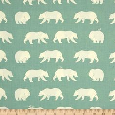 Birch Organic Bear Camp Bear Hike Mineral from @fabricdotcom  Designed by Jay-Cyn for Birch, this screen-printed cotton canvas is lightweight and very versatile. GOTS certified organic, this soft canvas is perfect for window accents (draperies, valances, curtains and swags), accent pillows, duvet covers and upholstery. Create handbags, tote bags, aprons and more. Colors include a soft green and white.