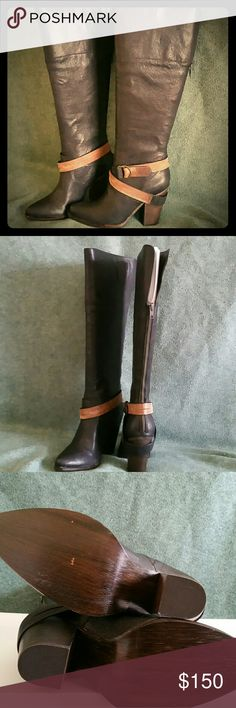 💲⬇PRICE DROP⬇💲Steve Madden Leather Boots Steve Madden Rockiie Black Leather knee-high Boots with black and brown strap with a brass double ring buckle around the ankle. 4 inch thick stacked heel. Zips in the back with a YKK zipper. New with box Steve Madden Shoes Heeled Boots