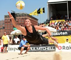 Beach Volleyball AVP Kingston New York City Open  Casey Patterson with the dig of the match during his finals victory.