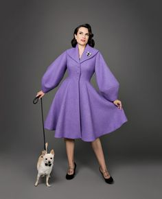 Meet the Princess Coat! Princess coats from the '50s are some of the most breathtaking examples of vintage glamour. These dramatic tailored coats had full skirts, nipped waists, beautiful shawl collars, and dazzling oversized sleeves. Made in lush wools and velvets with a range of striking trims and custom-made buttons, the sight of a mid-century princess coat is enchanting to anyone who comes across one. Boiled Wool Fabric, Cotton Fabric, Day Dresses, Dresses For Work, Boucle Coat, Tailored Coat, Coat Patterns, Sewing Patterns, Full Skirts
