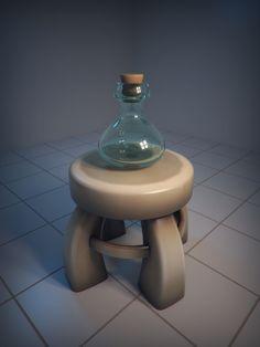 Glass bottle & taburetka (by stallfish)