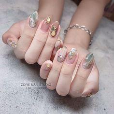 Pin on Nails Pin on Nails Asian Nail Art, Asian Nails, Korean Nail Art, Chanel Nail Art, Hair And Nails, My Nails, Japanese Nail Art, Elegant Nails, Nail Studio