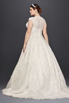 Tulle Oleg Cassini Plus Size Ball Gown Wedding Dress Wedding Dress Style 8CWG748 | Pretty Pear Bride