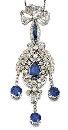A Belle Epoque sapphire and diamond pendant, The millegrain openwork pendant set with circular-cut and rose diamonds, suspending three circular-cut sapphire drops, to a ribbon bow surmount and trace link chain. Old Jewelry, Antique Jewelry, Vintage Jewelry, Fine Jewelry, Jewelry Necklaces, Bullet Jewelry, Geek Jewelry, Antique Earrings, Charm Bracelets